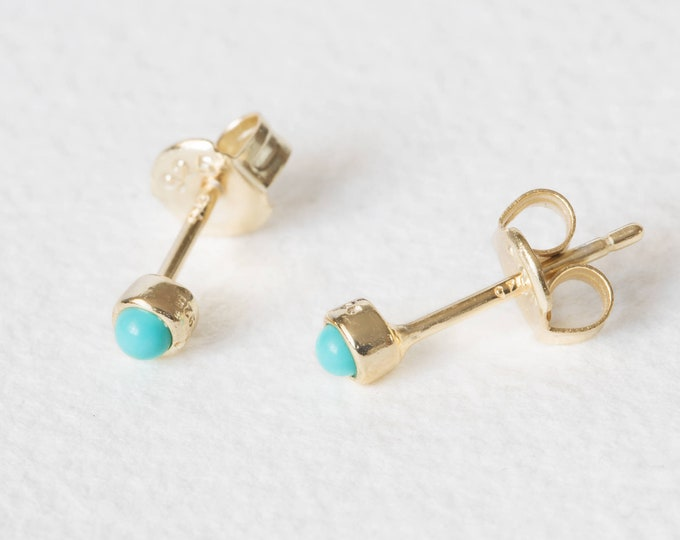 Super Tiny Earrings, Small Turquoise Earrings, Tiny Turquoise Stud Earrings,  Second Hole Earrings,Gold Turquoise Studs,2mm Stud Earring Set