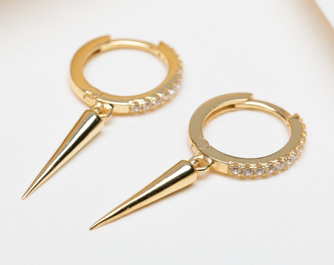 Hoop Dangle Earring, Gold Spike Earring, Small Dangle Earring, Second Hole Earring, Earring Charm, Gold Fill Hoop, Gold Plated Hoop, Single