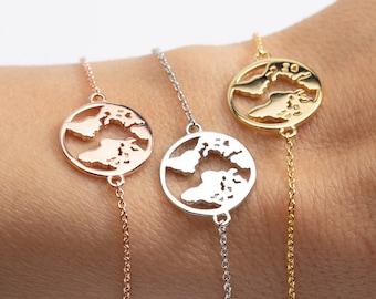 World Map Bracelet, Earth Bracelet, Sterling Silver Globe Bracelet, Rose Gold World Map, Gift Her, Wanderlust, Globetrotter, Explorer Gift