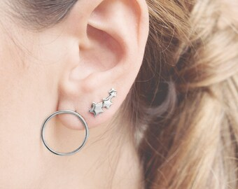 Open Earring, Hoop Earring Post, Thin Hoop Earring Silver, Medium Size Hoop Earring, Front Hoop Earring, Round Dainty Earring,