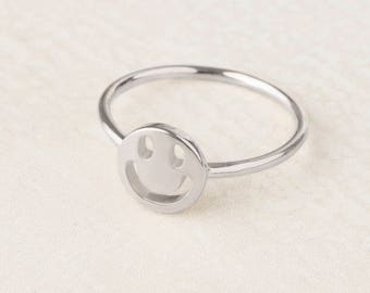 Smiley Face, Smiley Ring, Emoji Ring, Smile Ring, Sterling Silver Kid Ring, Teen Ring Jewelry, Party Ring, Good Vibes Ring, Gift Best Friend