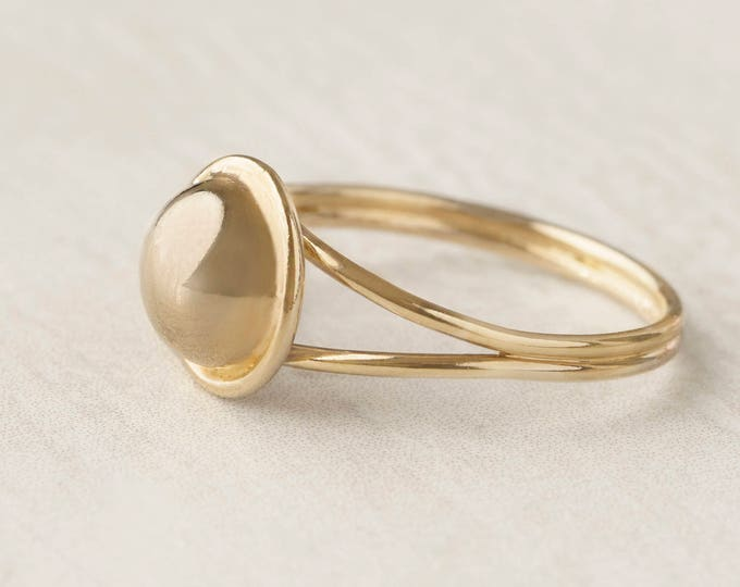 Sphere Ring - Ball Gold Ring - Chevalier Ring - Simple Statement Ring - Gold Filled Geometric Ring - Double Band Ring - Modern Jewelry