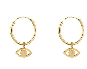 Cham Hoop Earring, Gold Filled Dangle  Earring, Minimalist Hoop, 15mm hoop earring, Evil Eye Earring, Dainty Earring,  Delicate Jewelry
