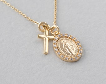 Cross Virgin Mary Necklace,Medallion Necklace Silver Saint Mary Necklace,Miraculous Necklace,Vintage Necklace,Sterling Silver Cross Necklace