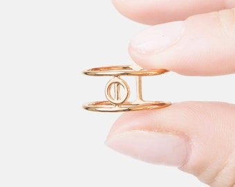 Moon Phase Ring, Cage Ring, Parallel Bar Ring, Full Moon Ring, Double Gold Ring, Bar Ring For Women, Geometric Ring, Open Ring Gold