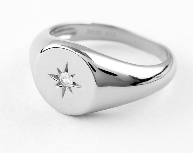 Starburst Ring, North Star Ring, Sterling Silver Signet Ring, Seal Ring, Dainty Silver Ring Women,Celestial Jewelry,Minimalist Ring, Cz Ring