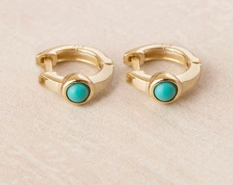 Huggie Earring Turquoise, Tiny Hoop, Small Hoop, Gold and Turquoise Earrings, Gemstone Huggie Hoops, Dot Hoop, Dainty hug Hoops, Mini Hoops