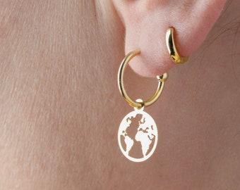 World Map Earring, Globe Earring, Earth Earring, Globetrotter Jewelry, Dangle Earring, Charm Hoop Earring, Gold  Plated Charm Earring