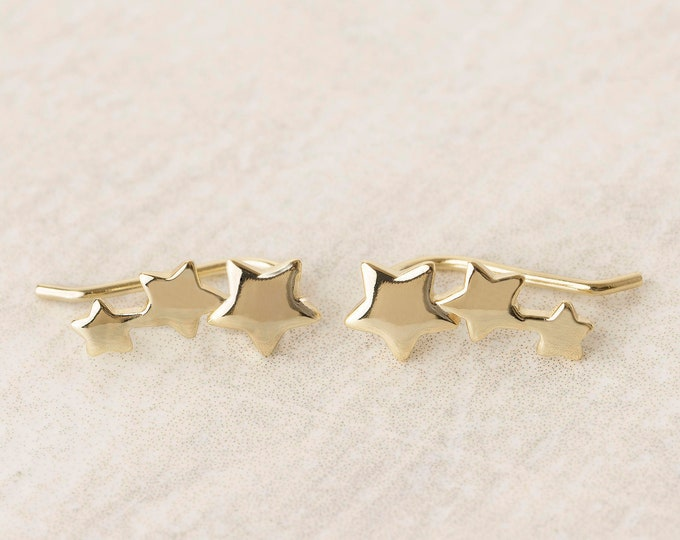 Constellation Earring, Star Earring, Star Cartilage, Triple Piercing, Cartilage Ear Climber, Constellation Ear Climber, Triple Star Earring