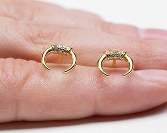Horn Studs, Horn Earrings Gold, Boho Earring Gold, Cz earring, Earring Second Hole, Single Earring, Sterling Silver Earring Studs Minimal