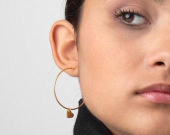 Charm Hoop Earring, Heart Earring, Big Hoop Earring, Dangle Earring, Large Hoop Earring, Big Hoop Earring,  Creole, 40mm Hoop Earring