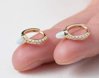 Gold Huggie Earring, Opal Huggie Earring, Spike Hoop, Charm Hoop Earring, Spike Hoop Earring, Earring Second Hole, Minimalist Jewelry