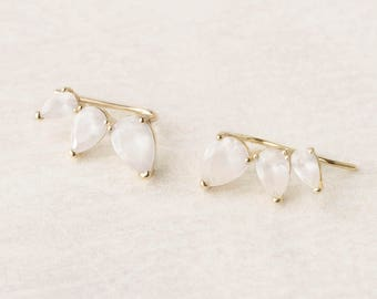 Mother Of Pearl Earring, Ear Climber White Gold, June Birthstone Earring, Ear Climber Opal, Moonstone Climber Earring, Pearl Earring Jacket