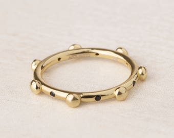 Sterling Ball Ring, Dot Ring, Seven Day Ring, Gold Plated Ring Women, Stack Ring Women, Thick Band Ring Women, Dainty Ring, Minimalist Ring