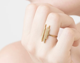 Gold Bar Ring, Double Bar Ring, Parallel Bar Ring, Gold Open Ring, Open Bar Ring, Adjustable Dot Ring, Dainty Open Ring, Ball Open Ring