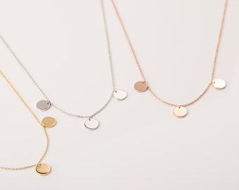 Triple Disc Necklace, Minimalist Necklace Women, Rose Gold Necklace, Gold Round Necklace, Circle Necklace, Dainty Necklace, Simple Necklace