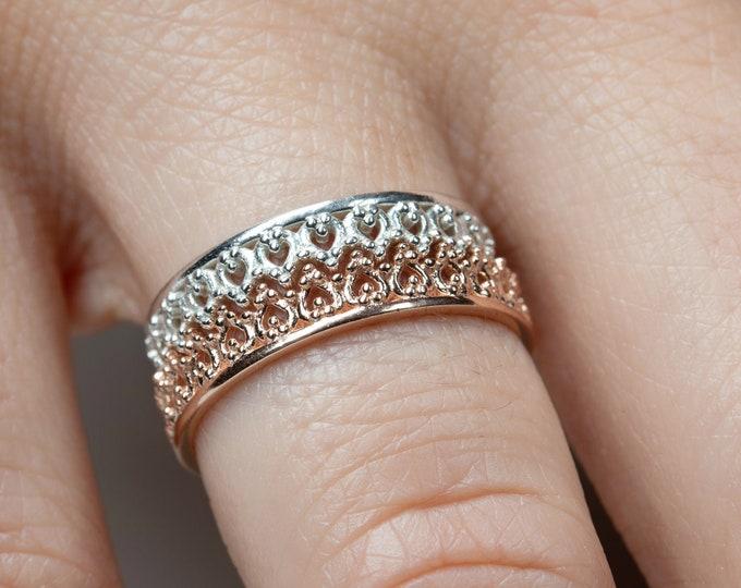 Stack Ring Set, Gold Crown Ring, Rose Ring Sterling Silver, Vintage Ring, Engagement Ring,King Queen Ring,Filigree Ring,Tiara Ring,Midi Ring