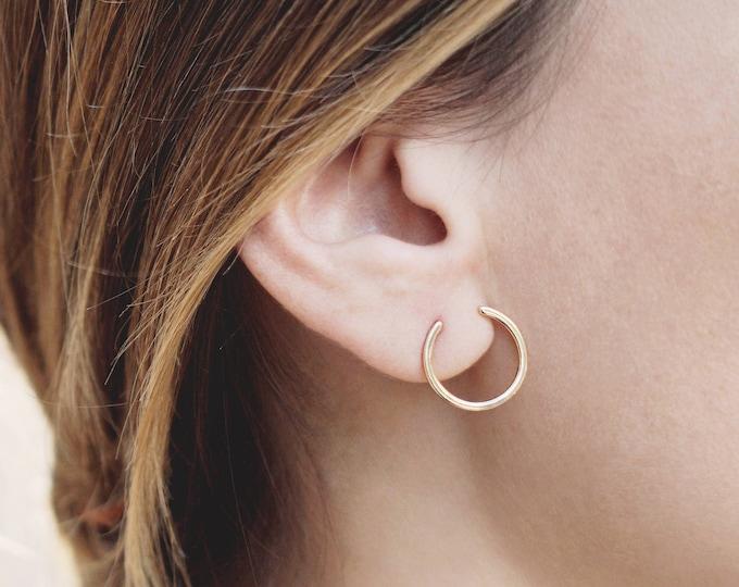 Front Hoop Earring, Open Hoop Earring, Medium Size Hoop, Delicate Hoop Earring, Dainty Hoop Earring, Gold Fill Hoop, 15mm Hoop Earring