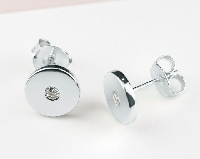 Flat Stud Earrings Disk, Second Hole Earring Stud Sterling Silver, Second Hole Earring Diamond,Disc Earring, Piercing Earring,Dainty Jewelry