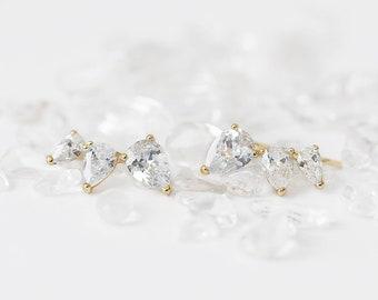 Crystal Ear Cuff Crawler, Ear Cuff No Piercing, Diamond Clip On Earring, Clip On Earring Wedding, Piercing Earring, Cz Ear Crawler, Dainty