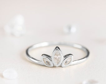 Sterling Silver Marquise Ring, Triple Stone Ring, Cz Marquise Ring, Princess Ring, Tiara Ring Gold, Simple Crown Ring, Crystal Ring Women