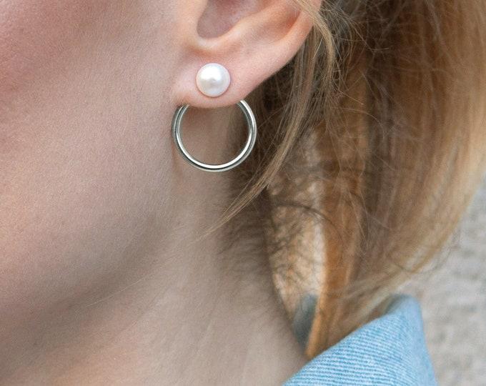 Pearl Ear Jacket Earring, Double Hoop Earring Silver, Sterling Silver Ear Jacket, Front Back Earring, Circle Ear Jacket, Double Side Earring
