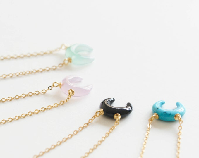 Tiny Rose Quartz Necklace Gold, Pink Moon Necklace, Sideways Moon Necklace, Mineral Necklace, Quartz Moon Necklace, Small Stone Necklace