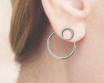 Double Hoop Earring, Statement Earring Modern, Front Back Earring Sterling Silver, Ear Jacket hoop, Moon Phase Earring, Double Sided Earring