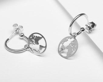 Earth Earring, World Map Earring, Globe Earring, Sterling Silver Dangle Drop Earring, Charm Hoop Earring, Medium Hoop, Hypoallergenic