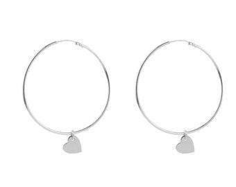 Large Hoop Earring, Heart Earring Sterling Silver, Charm Hoop Earring,  40mm Hoop Earring, Big Hoop Earring, Dangle Earring,Big Hoop Earring