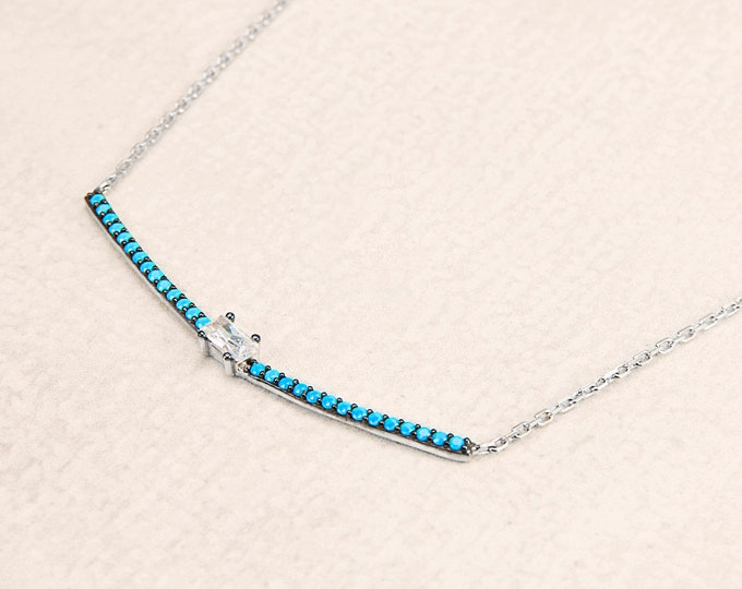 Sterling Silver Bar Necklace, Dainty Bar Necklace, Turquoise Bar Necklace, Arizona Necklace, Turquoise Jewelry, Turquoise Silver Necklace