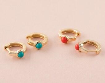 Coral Hoop Earring, Huggie Earring, Red Earring Gold, Small Hoop, Gold Red Earring, Gemstone Hoop, Dot Hoop, Dainty hug Hoops, Mini Hoop