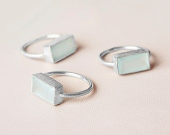 Natual Aquamarine Ring, Rectangle Ring, Aqua Chalcedony Ring, Statement Ring, Silver Ring Stone, Gem Ring,Big Ring Stone,Large Cocktail Ring