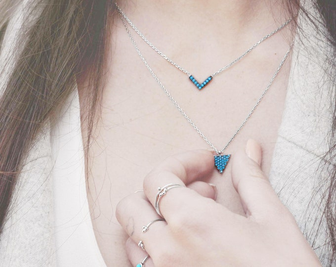 Diamond V Necklace, Tiny V Necklace, Dainty V Necklace, Small Turquoise Necklace, Sterling Silver Triangle Necklace, Turquoise jewelry