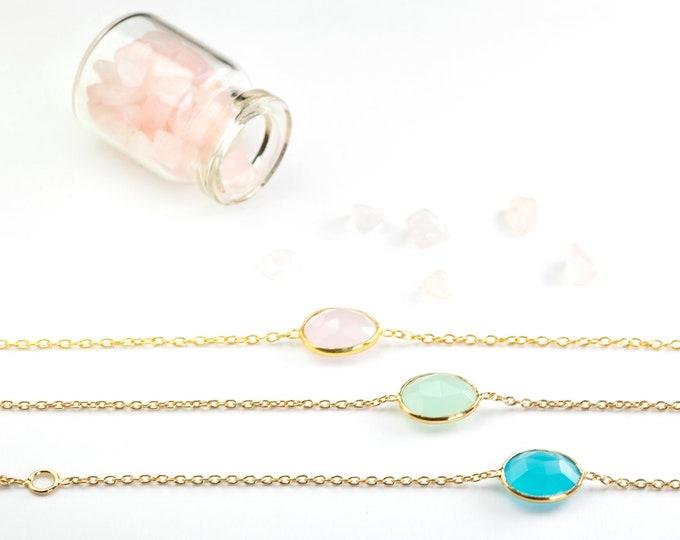 Rose Quartz Bracelet Women, Gem Stone Bracelet, Pink Bracelet, Tiny Gemstone Bracelet, Dainty Bracelet Gold, Chain Link, Bracelet Gold