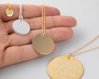Medallion Necklace, Stamp Necklace, Men Silver Necklace, Custom Men Necklace, Personalized Medal,Large Disc Necklace,Engraved Necklace Women