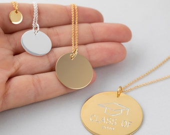 Personalized Gift, Medallion Necklace, Stamp Necklace, Men Silver Necklace, Custom Men Necklace, Large Disc Necklace,Engraved Medal Women