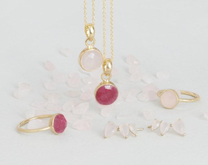 Rose Quartz Ring Set, Natural Stone Jewelry, Gemstone Gold Ring, Bezel Set Ring, Jewelry Gift Woman, Ruby Jewelry Set, Statement Jewelry