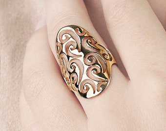 Gold Filigree Ring, Boho Statement Ring, Gold Spiral Ring, Shield Ring,Large Oval Ring, Gold Lace Ring, Hippie Ring Gold, Gold Fill Ring