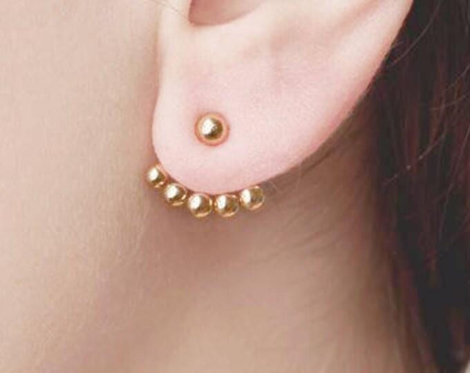 Front Back Earring, Ear Jacket Gold, Double Sided Earring Sterling Silver, Ball Ear Jacket,Ear Climber Earring,Modern Earring,Dainty Jewelry