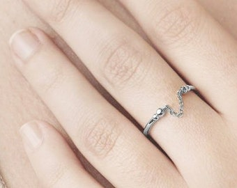 Minimalist Ring, Dainty Ring, Chain Ring, Cuff Ring, Upper Ring, Sterling Silver Delicate Ring, Stack Ring, Tiny Ring, Small Ring,Dual Ring