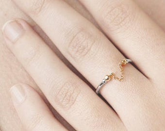 Upper Finger Ring, Dainty Chain Ring, Gold Silver Ring, Minimalist Ring Sterling Silver, Midi Ring, Cuff Ring Women, Open Adjust Ring