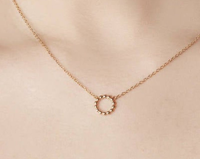 Minimalist Necklace, Gold Round Necklace, Circle Necklace, Karma Necklace,  Eternity Pendant, Dot Necklace, Dainty Necklace, Simple Necklace