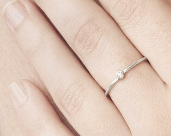 Stack Ring, Single Diamond Ring, Delicate Sterling Silver Ring, Cz Stack Ring, Minimalist Ring Silver, Simple Ring, Thin Ring, Dainty Ring