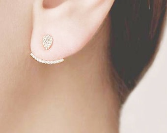 Ear Jacket Sterling Silver, Cz Ear Cuff, Gold Front Back Earring, Dainty Stud Earring, Double Side Earring, Curve Climber Earring,Micro Pave