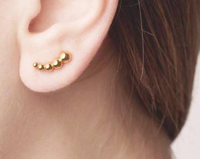 Ear Cuff Minimal Earrings - Ball Ear Cuff Earrings - Gold Plated Dainty Earrings  - Circle Ear Climber, Dots Ear Cuffs No Piercing