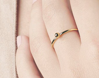 Gold Plated Ring, Thin Gold Ring, Dot Ring, Dainty Gold Ring, Stack Ring Set, Ball Ring, Simple Ring, Minimalist Jewelry, Two Ring,Tiny Ring