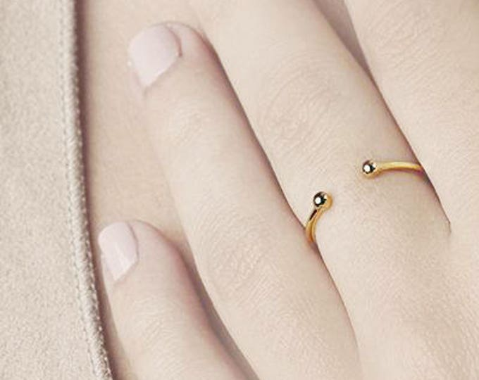 Gold Ball Ring, Open Ring, Two Finger Ring, Minimalist Ring, Gold Adjust Ring, Thin Gold Ring, Dot Ring, Knuckle Ring, Dainty Jewelry