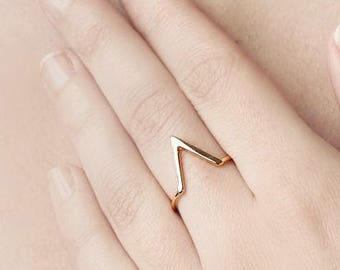 V Shape Ring, Gold V Ring, Gold Plated Ring, Geometric Gold Ring, Dainty Gold Ring, Two Ring Set, Minimalist Gold Ring, Open Triangle Ring