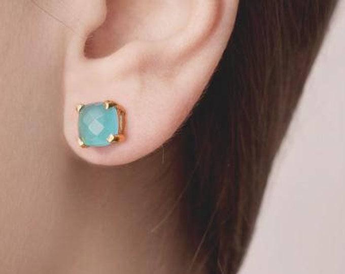 Aquamarine Earring Gold, Natural Stone Jewelry, Sterling Silver Gemstone Earring,Aqua Chalcedony Stud Earring,Gold Fill Stud,Blue Chalcedony